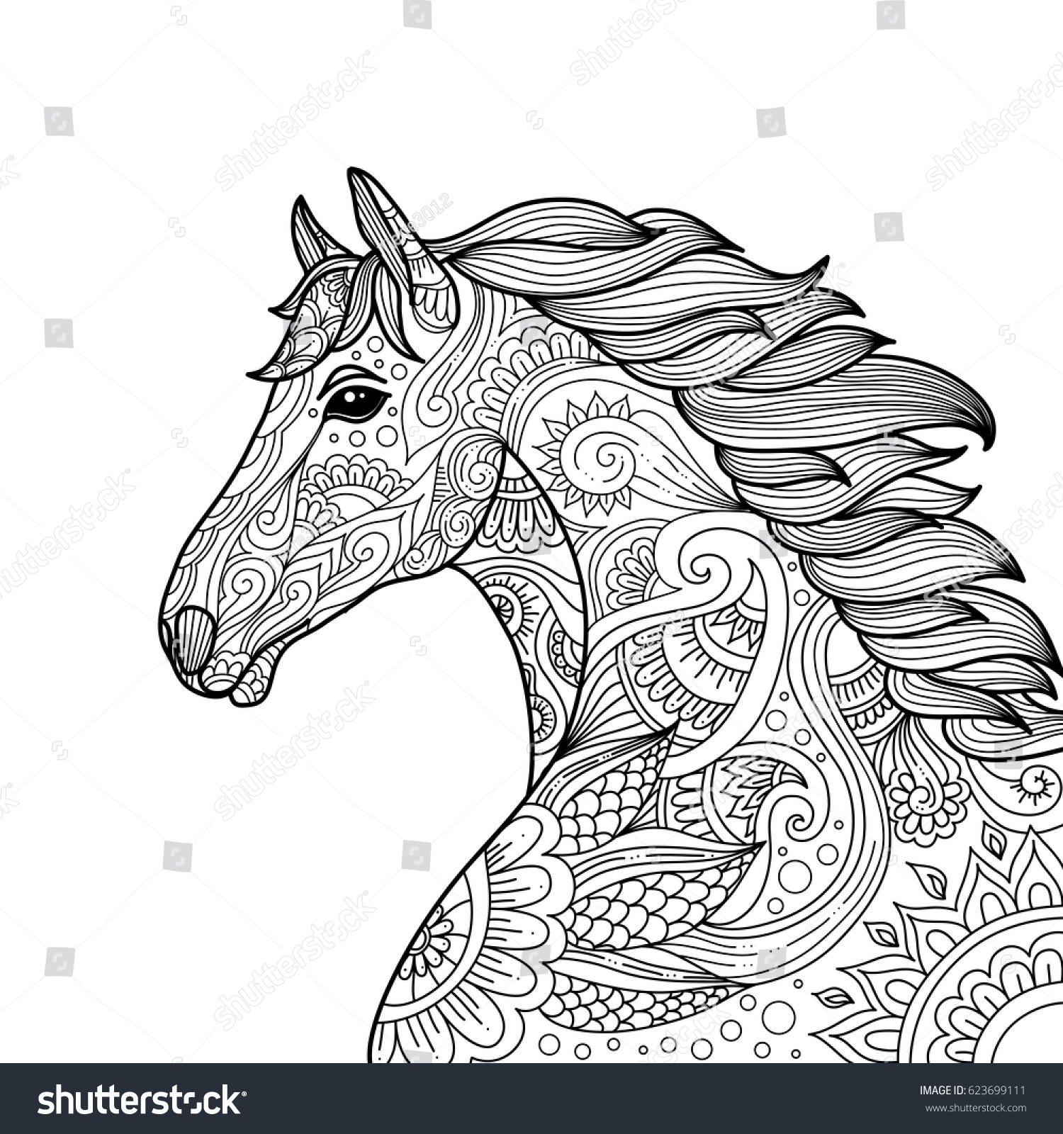 Stylized Hand Drawn Head Horse Coloring Stock Vector (Royalty Free ...