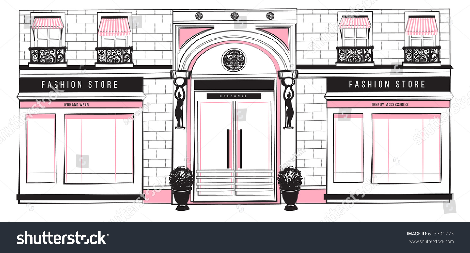 Vector Shopfront Detailed Pink Black White 623701223 on Modern House Design Front View