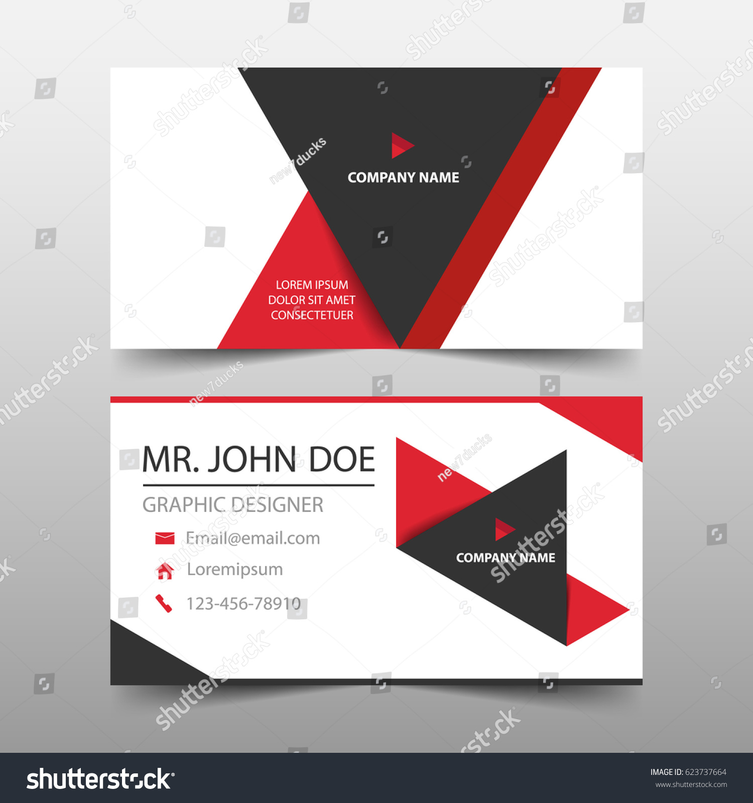 Red Triangle Corporate Business Card Name Stock Vector 623737664 ...