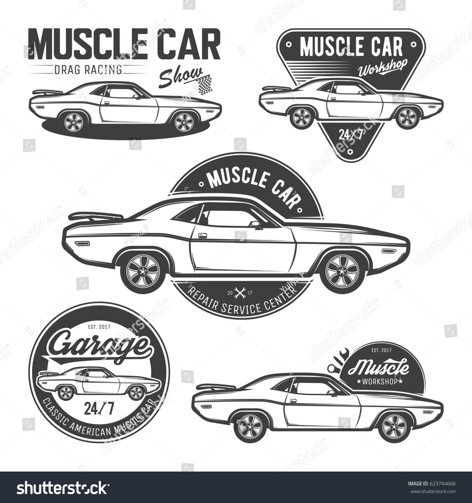 Design car emblem - Set Of Classic Muscle Car Emblems Logos Labels And Design Elements Isolated On
