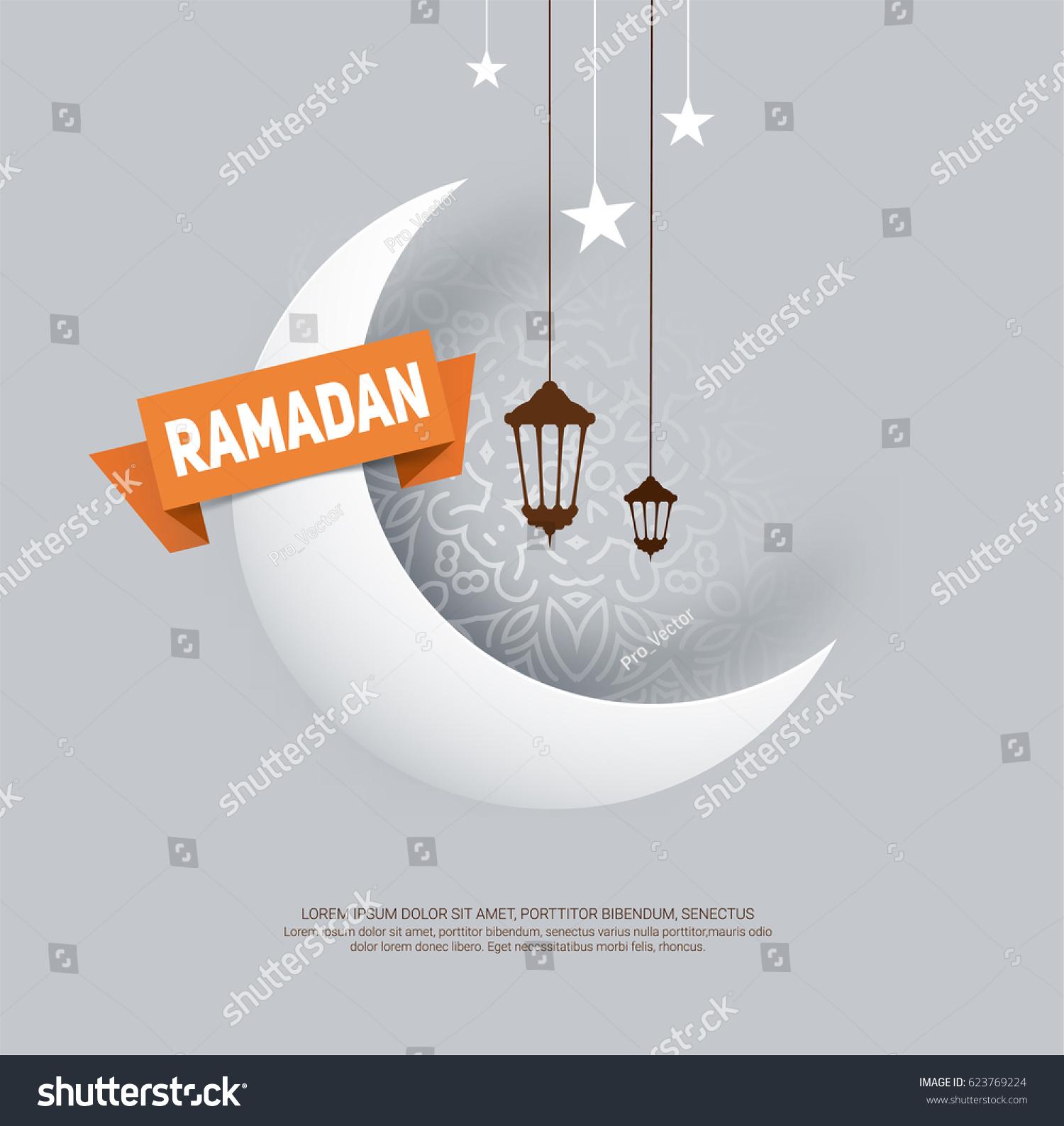 Ramadan kareem greeting card paper crescent stock vector 623769224 ramadan kareem greeting card with paper crescent moon ribbon stars and ramadan lantern kristyandbryce Image collections