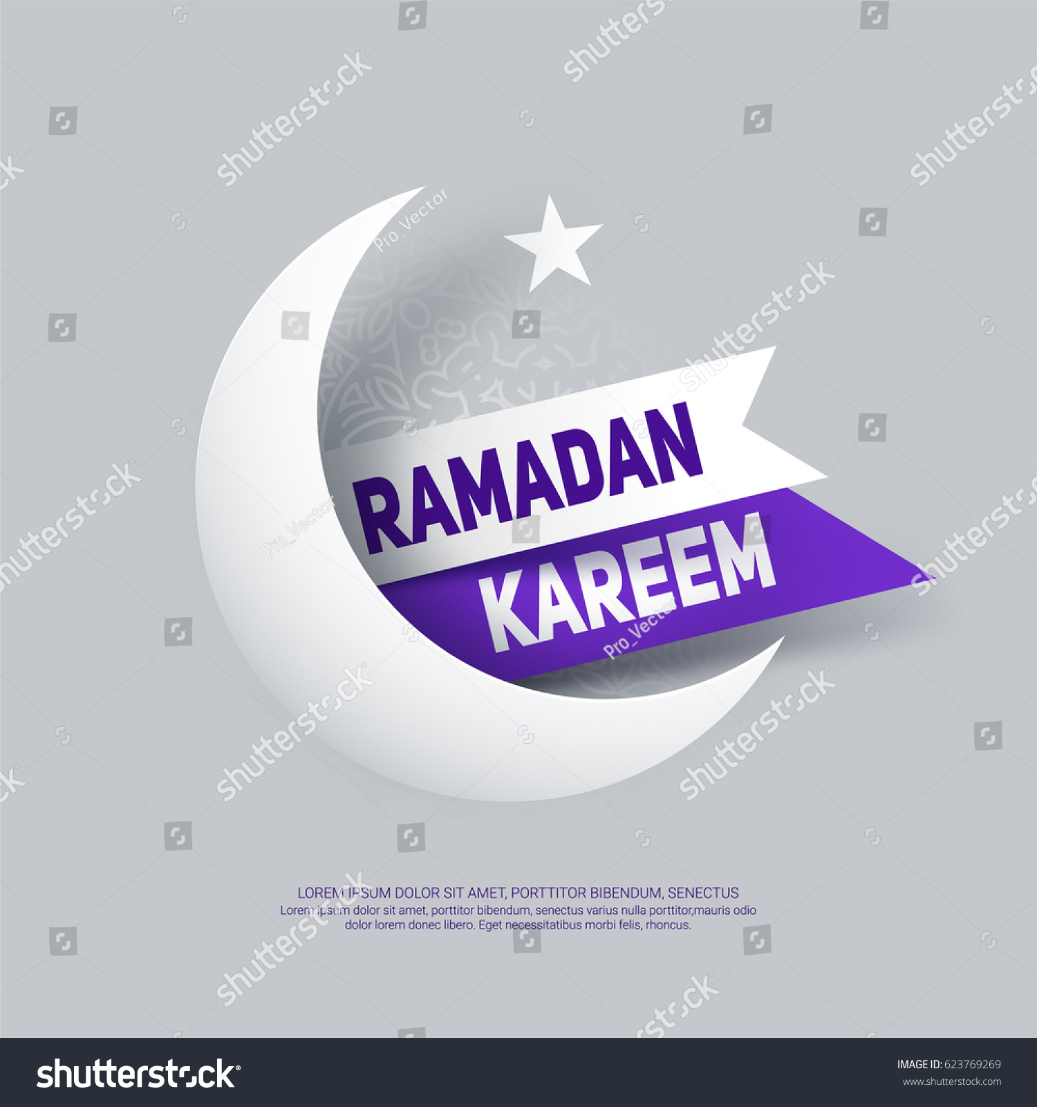Ramadan kareem greeting card paper crescent stock vector 623769269 ramadan kareem greeting card with paper crescent moon star and ribbon eps 10 kristyandbryce Image collections