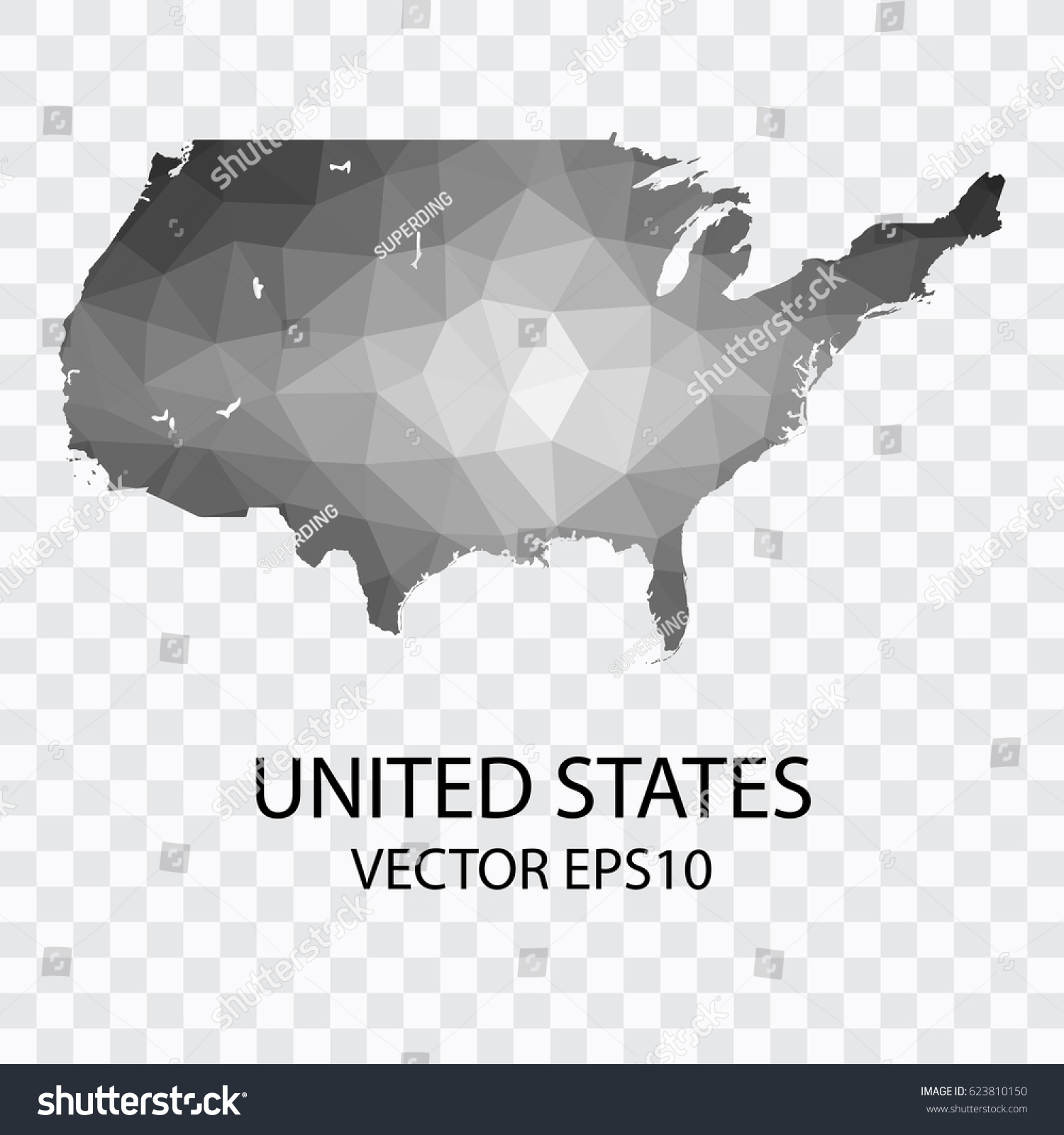 Transparent Vector Map United States Vector Stock Vector 623810150