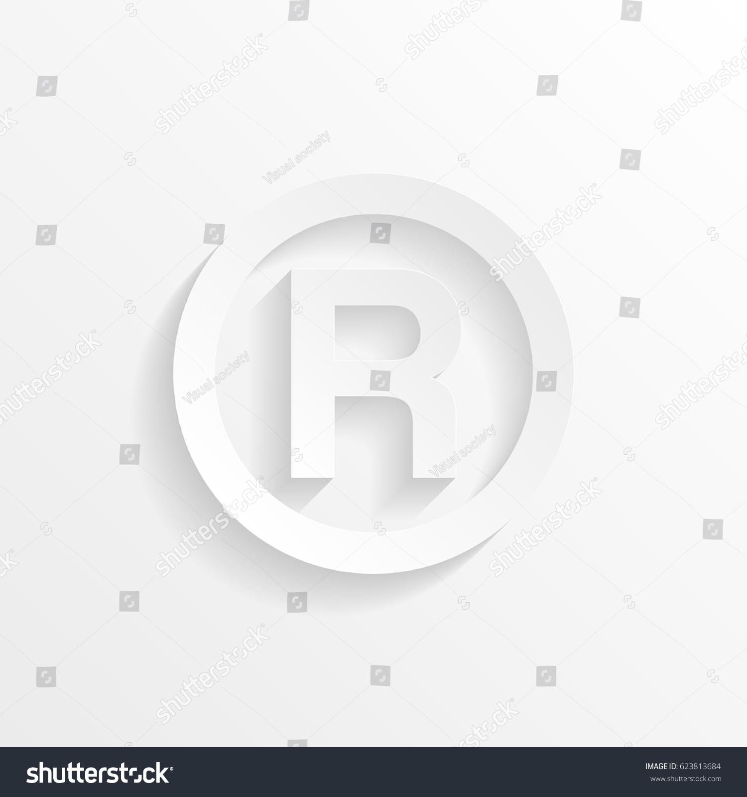 R Registered Trademark Symbol Shadow Cut Stock Vector Royalty Free