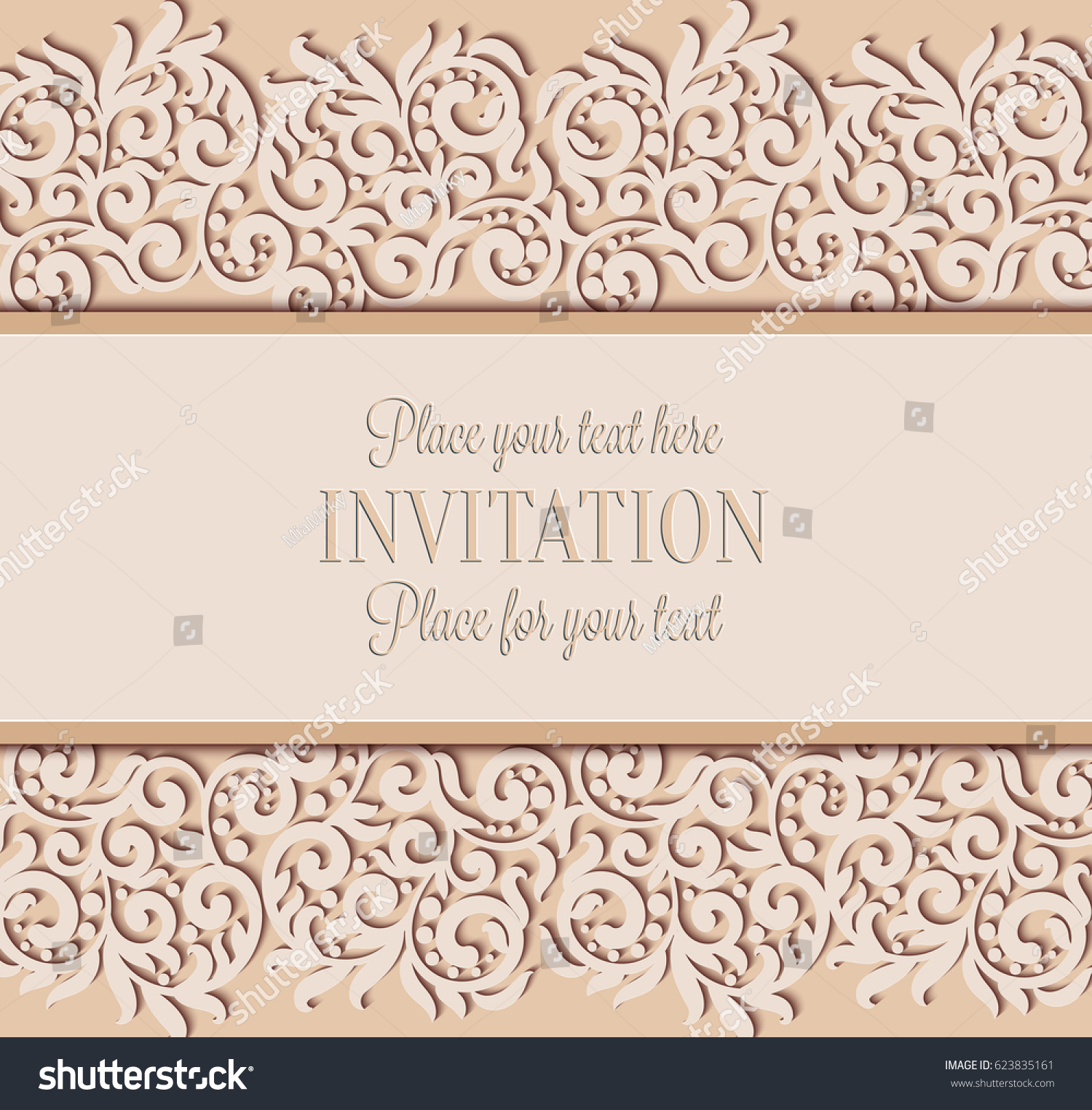 Vector floral swirls decorated invitation card stock vector vector floral swirls decorated invitation card abstract 3d background design template with place for text stopboris Choice Image