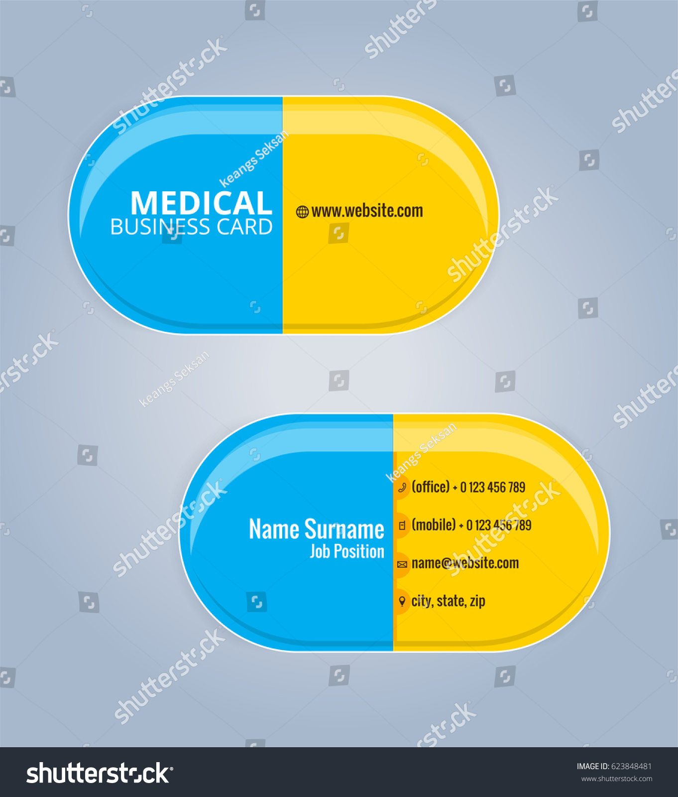 yellow blue drug capsules business card stock vector 623848481