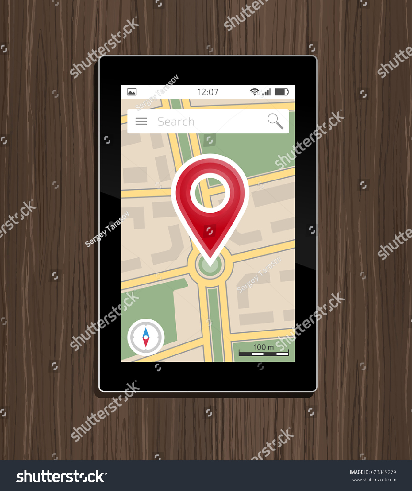 Map application on laptop pc monitor flat design icon — stock.