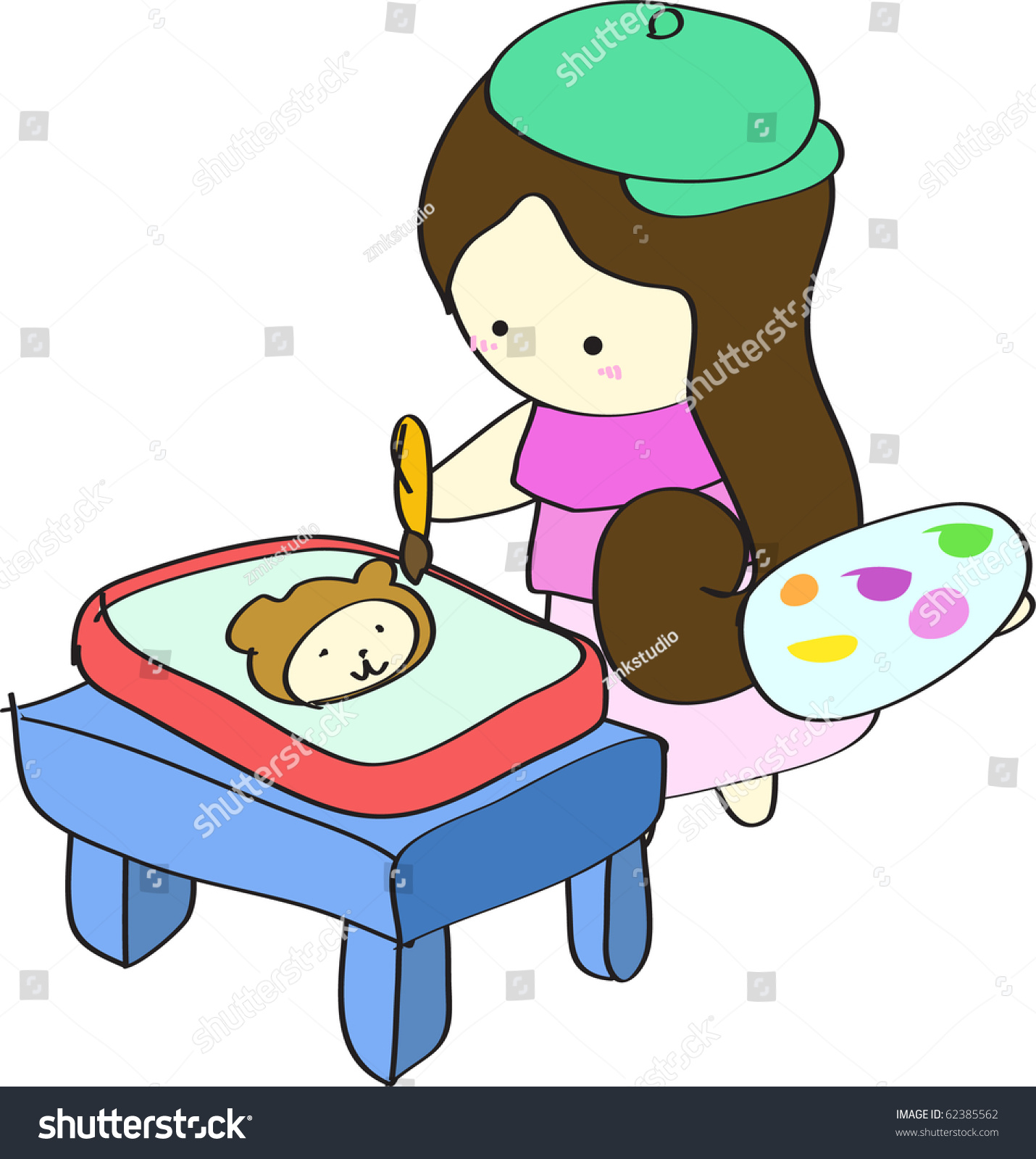 young girl kid artist painting a cute bear picture on drawing plate on table cartoon vector - Cartoon Kid Drawing