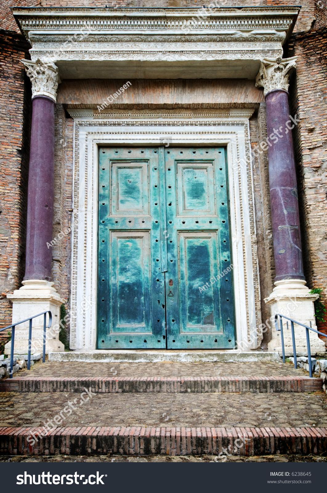 Ancient Roman Doors : Ancient door from the roman forum ruins rome italy stock