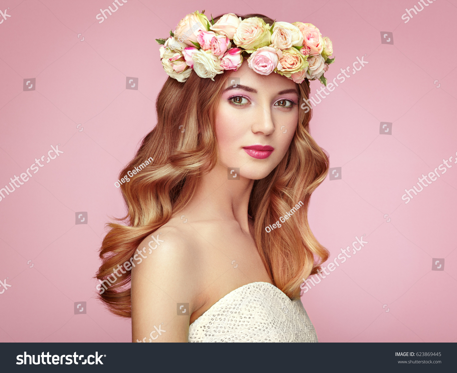 Beautiful blonde woman flower wreath on stock photo 623869445 beautiful blonde woman with flower wreath on her head beauty girl with flowers hairstyle dhlflorist Gallery