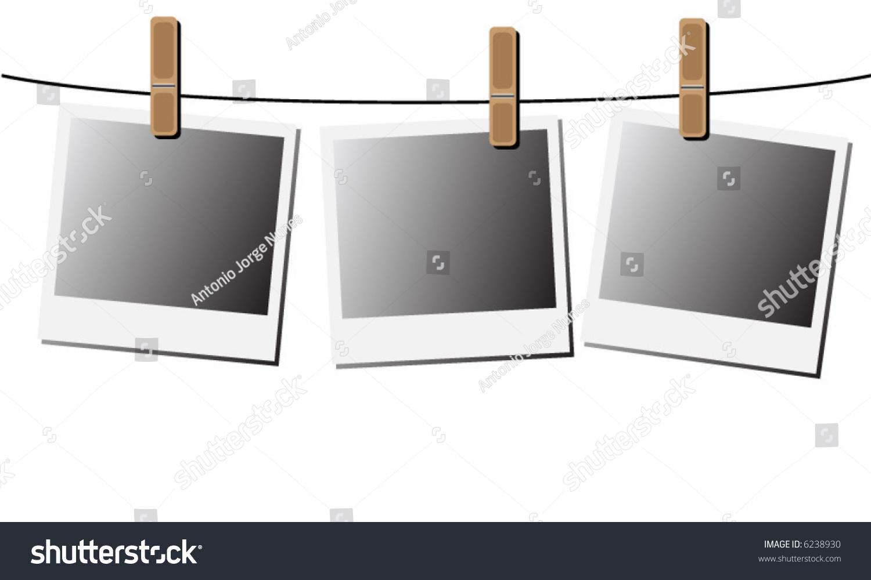Blank Instant Photos Hanging Wire Vector Stock Vector 6238930 ...