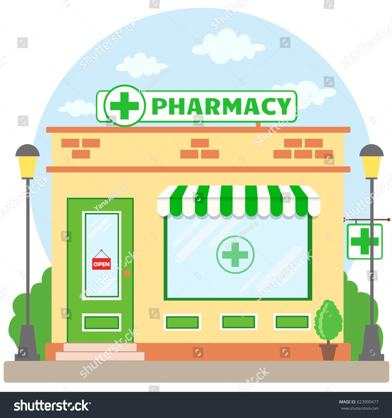 facade pharmacy store signboard awning symbol stock vector 623900477 shutterstock. Black Bedroom Furniture Sets. Home Design Ideas