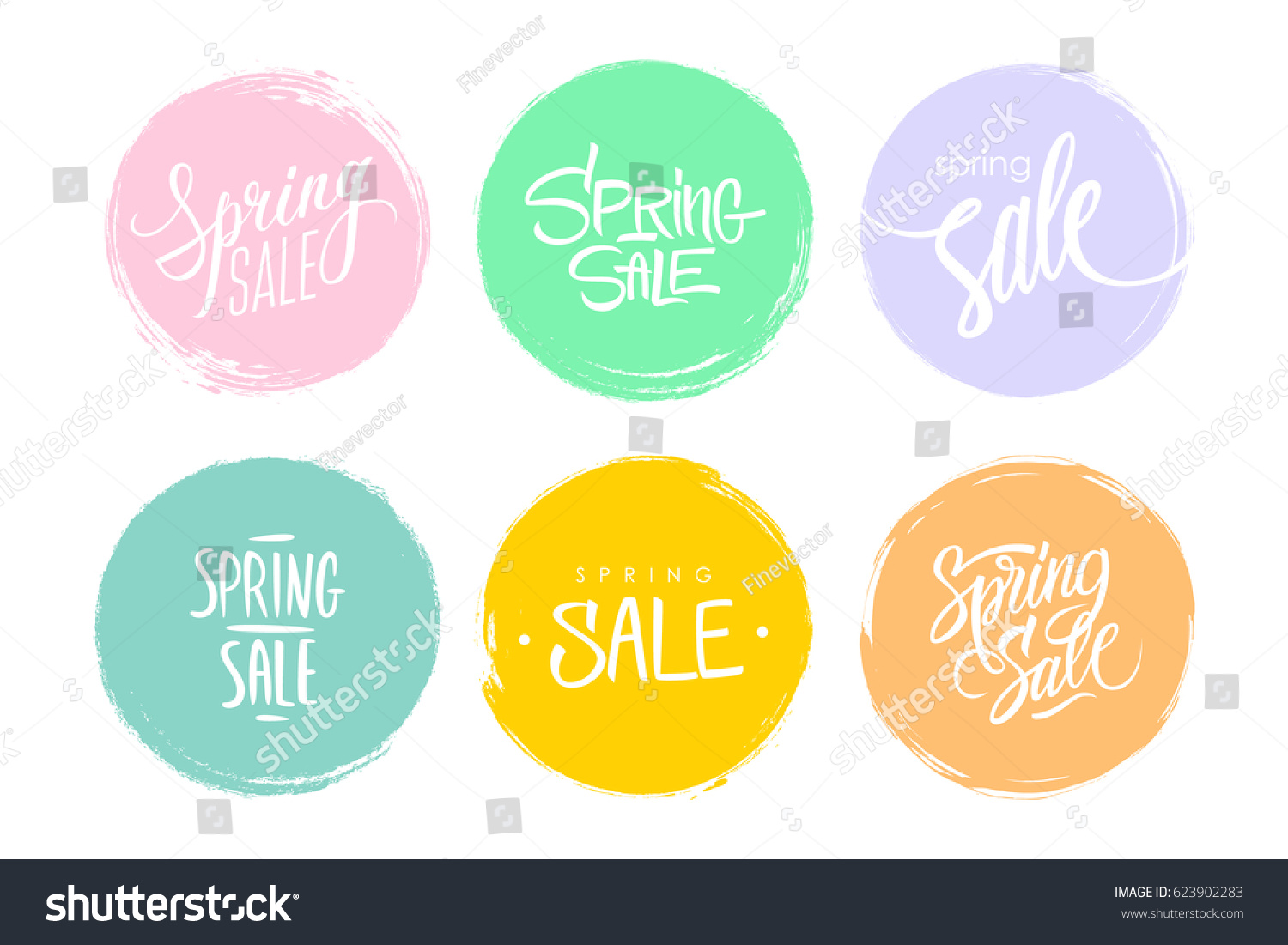 Spring Sale hand drawn lettering. Set of special offer signs with handwritten text design and circle brush stroke backgrounds for business, promotion and advertising. Vector illustration.