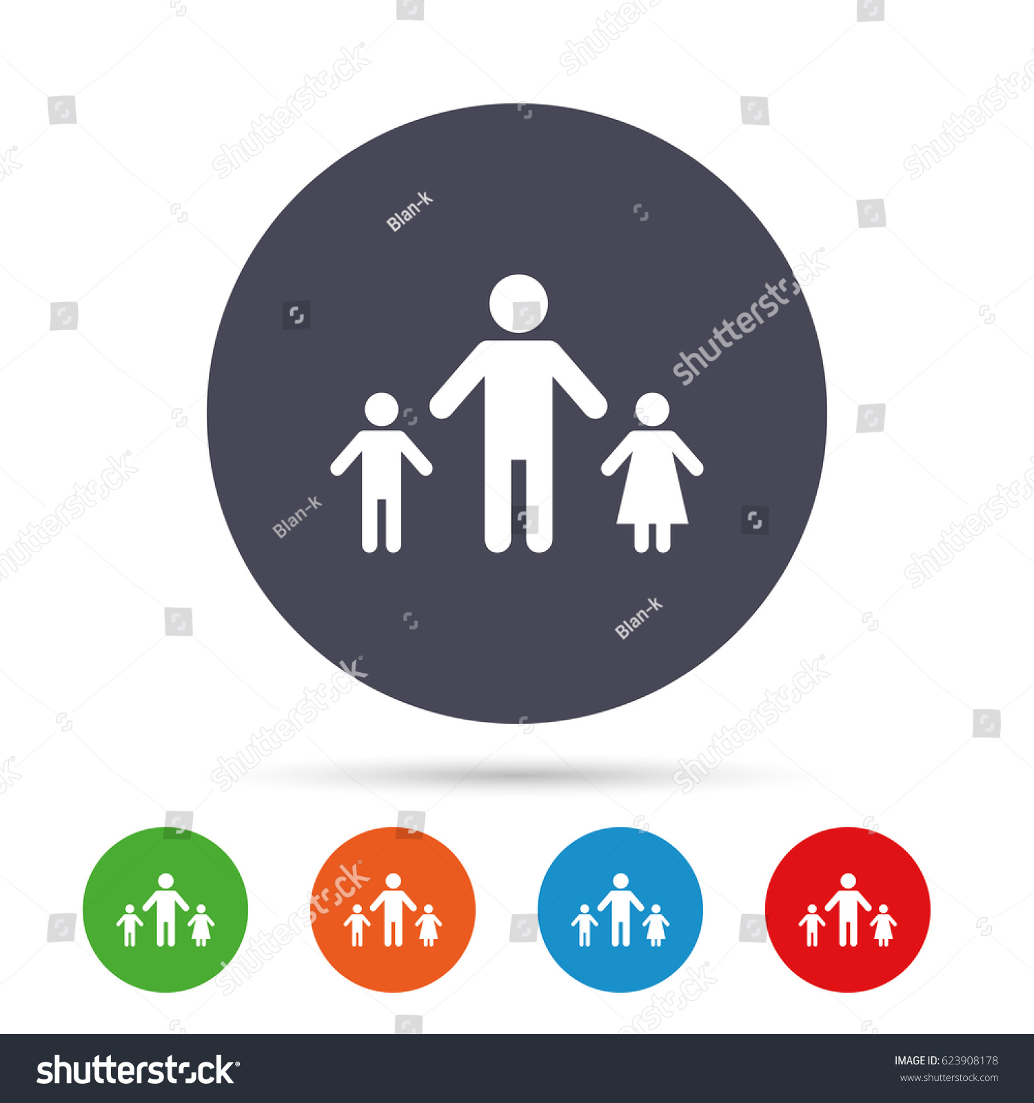 Oneparent family two children sign icon stock vector 623908178 one parent family with two children sign icon father with son and daughter symbol biocorpaavc