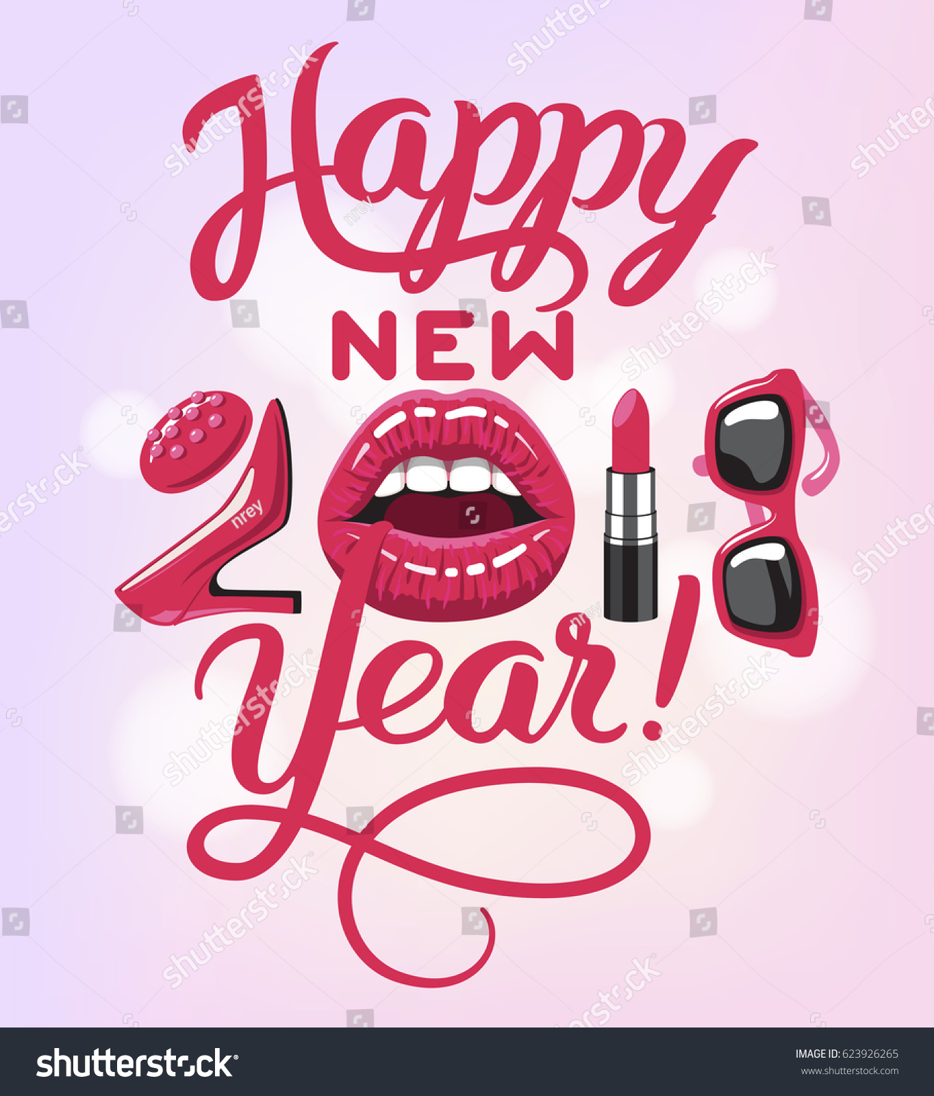 Happy New 2018 Year Woman Things Stock Vector 623926265 ...