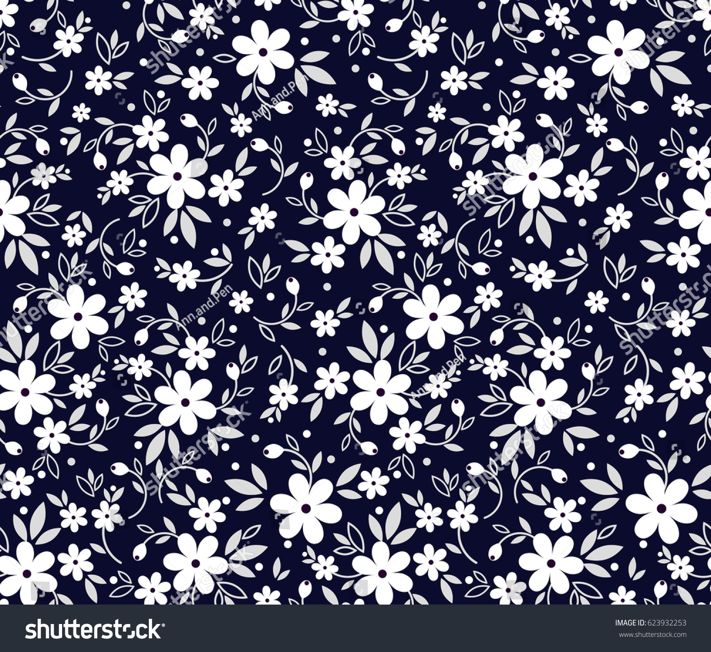 Floral Pattern Pretty Flowers On Dark Stock Vector ...