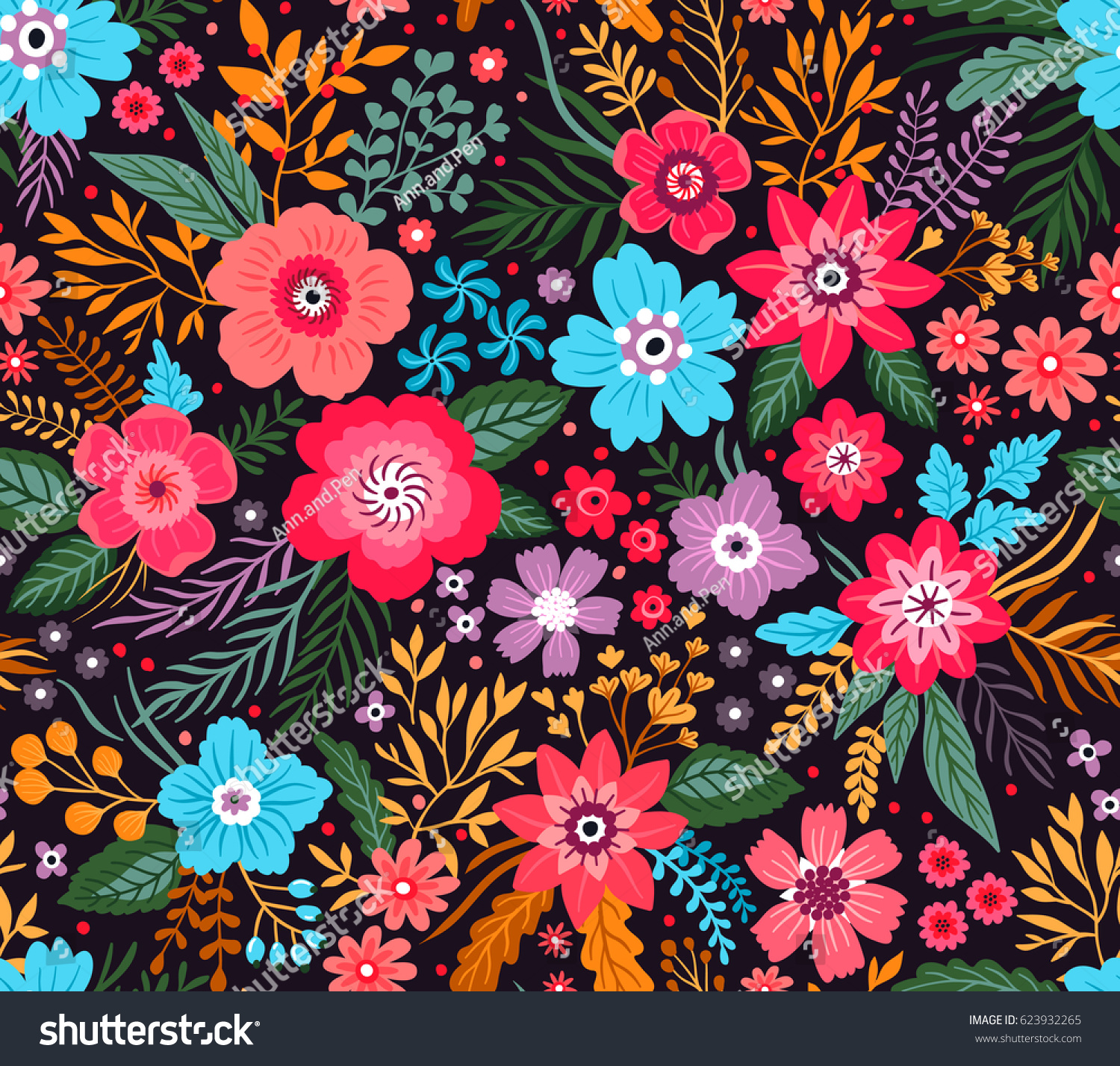 Amazing Seamless Floral Pattern Bright Colorful Stock Vector
