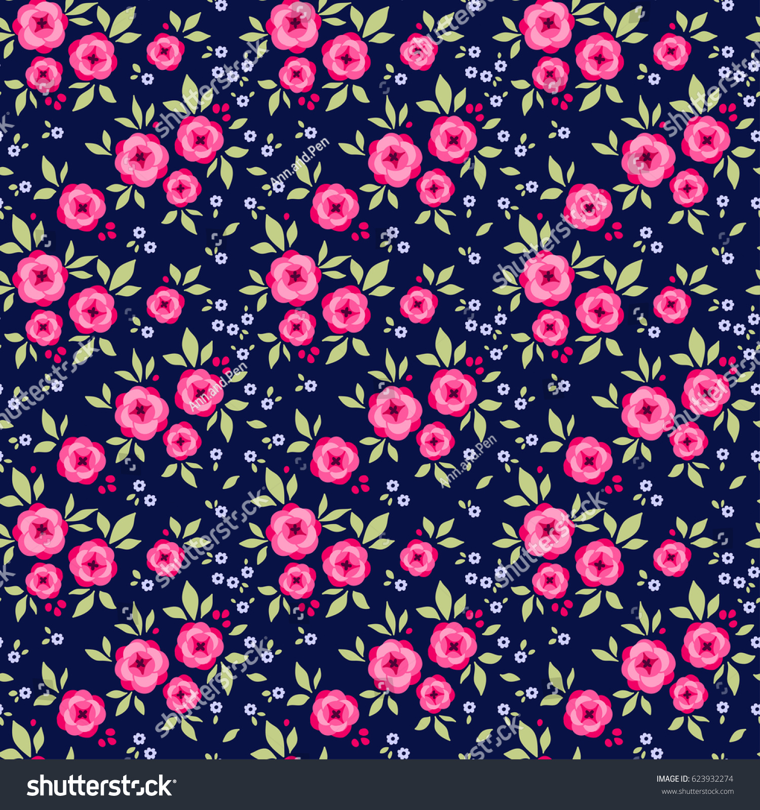 Floral pattern pretty flowers on dark stock vector royalty free floral pattern pretty flowers on dark blue background printing with small pink roses flowers mightylinksfo