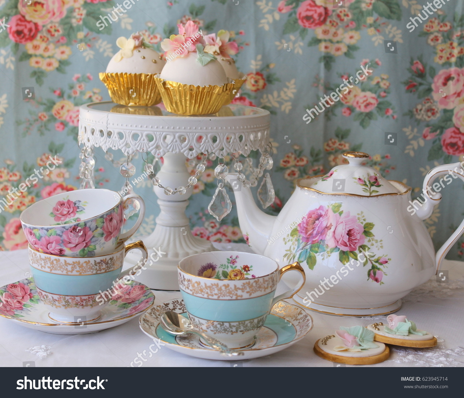 Vintage Afternoon Tea Party Blue Floral Stock Photo Edit Now