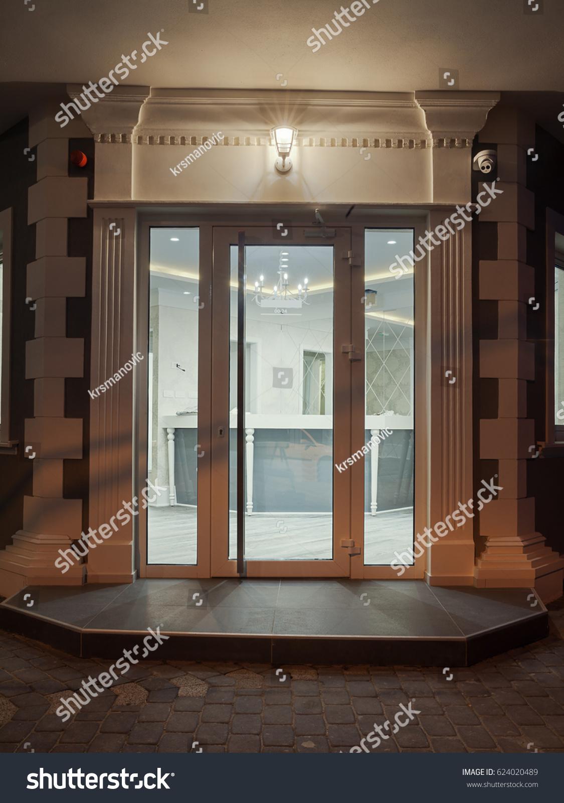 Details Modern Hotel Entrance Glass Doors Stock Photo Edit Now