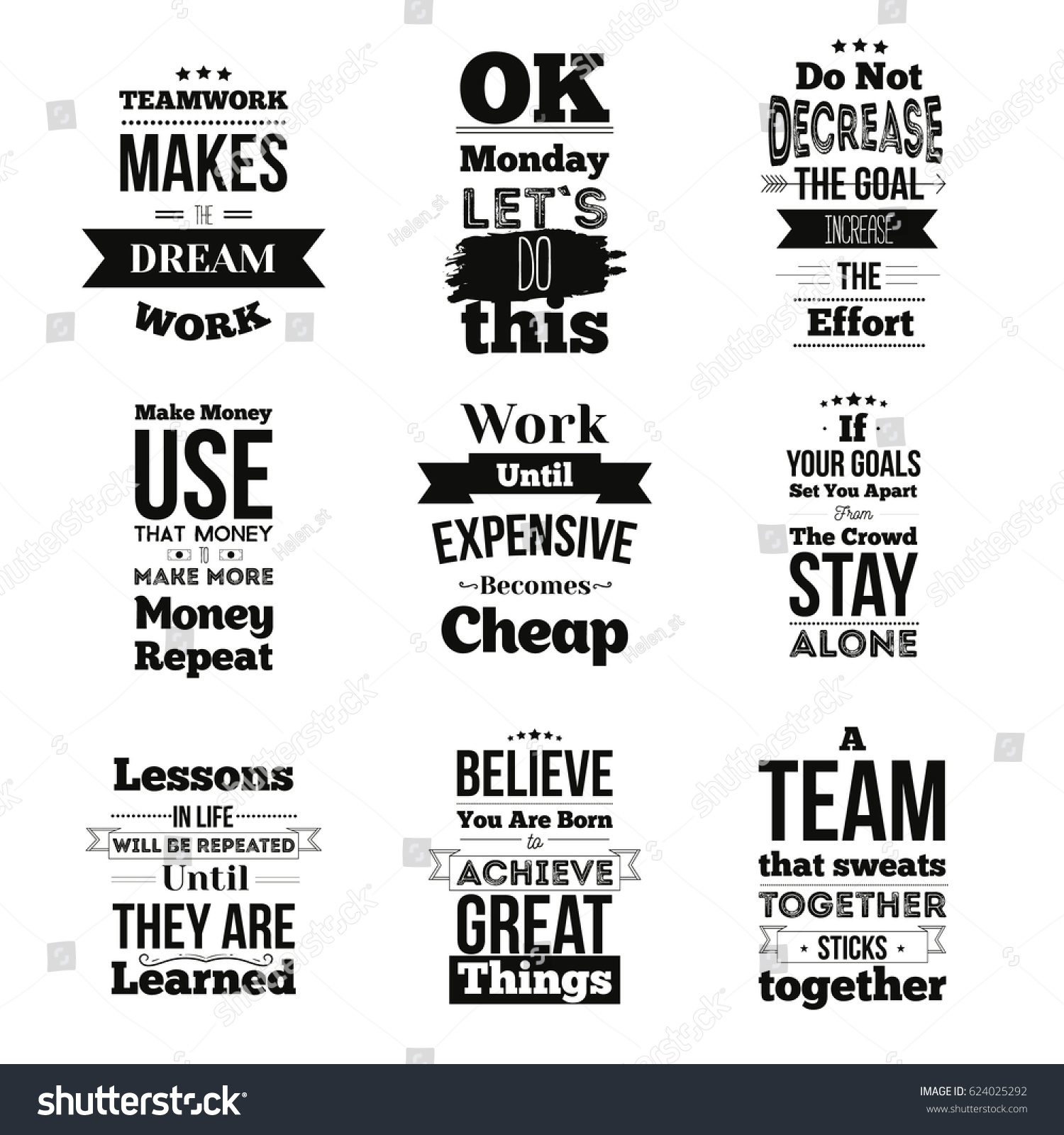 Inspirational Team Quotes | Set Inspirational Quotes About Work Team Stock Vektorgrafik