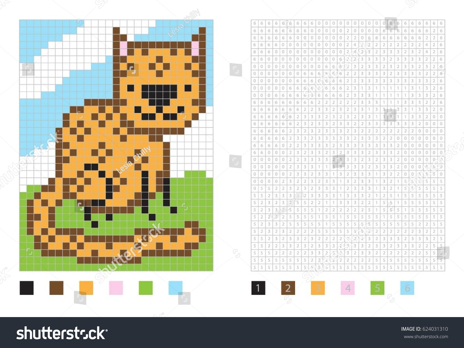 pixel cartoon leopard coloring page numbered stock vector