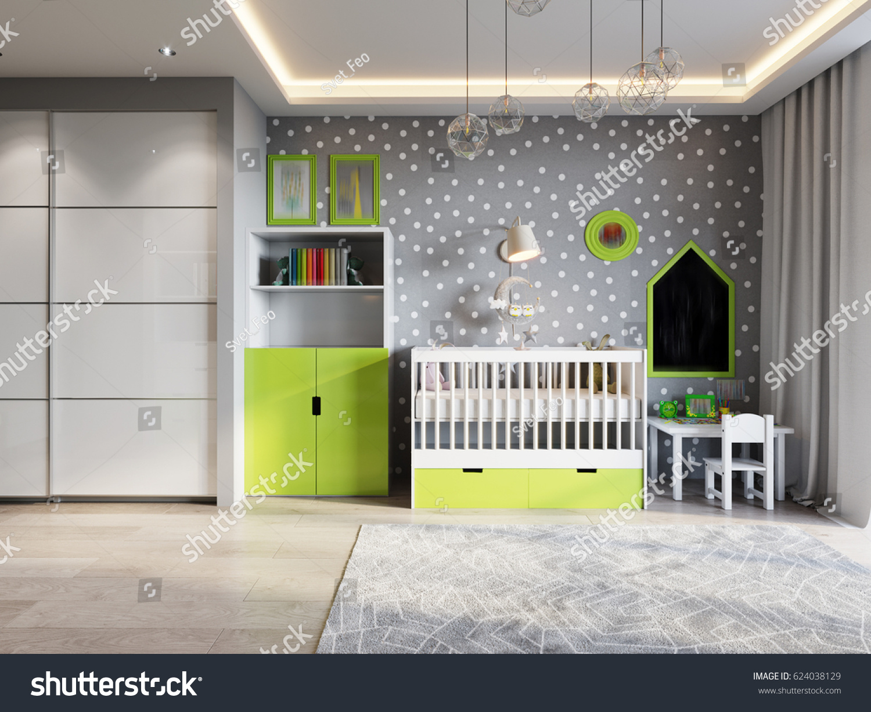 Bright Cozy Childrens Room Modern Urban Stock Illustration 624038129 ...