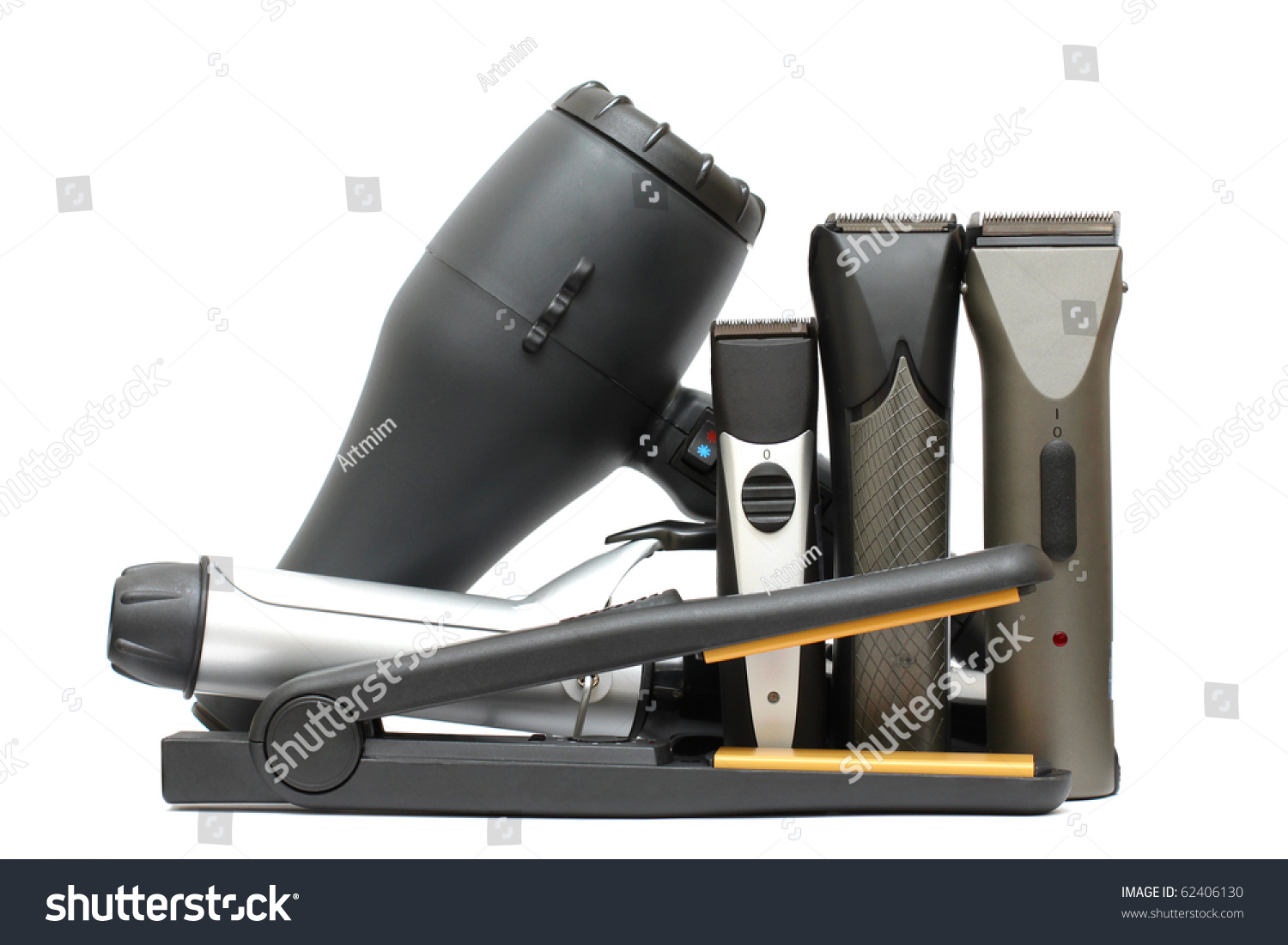 beauty salon background hairdressers tools isolated hair styling set stock photo 62406130. Black Bedroom Furniture Sets. Home Design Ideas