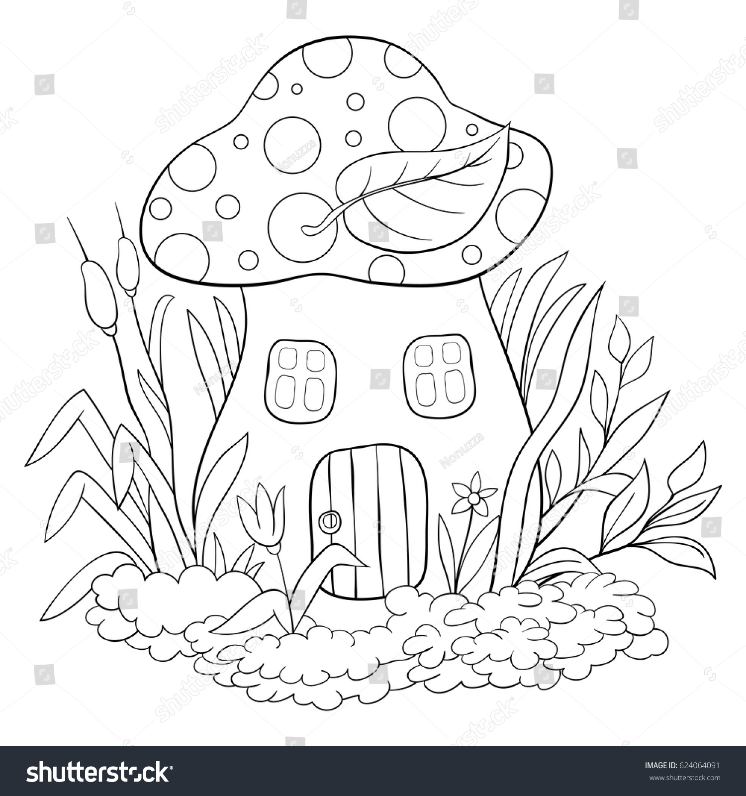 Children coloring page a mushroom house cartoon style illustration