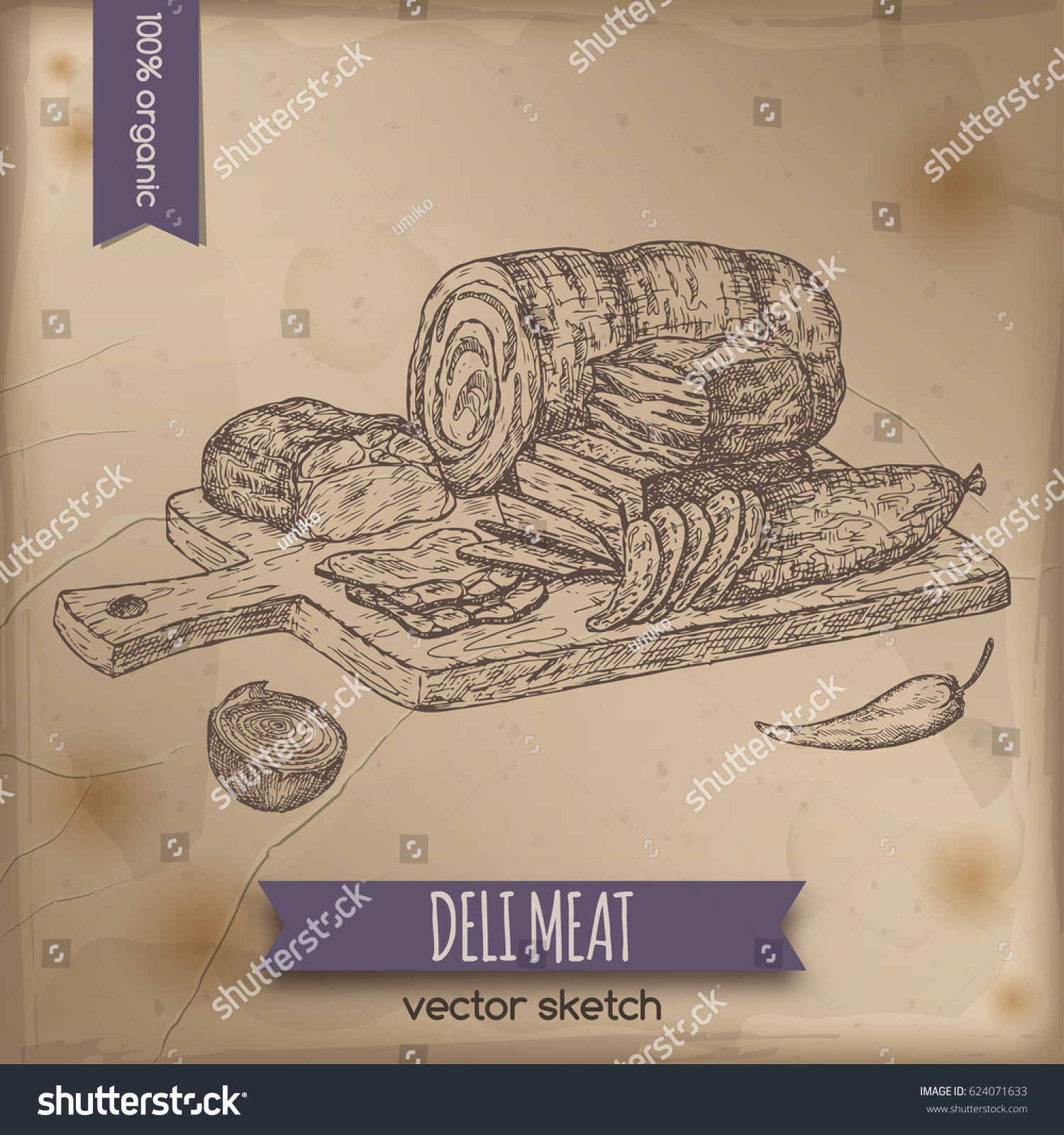 Vintage Deli Meats Platter Template Placed Stock Vector Royalty