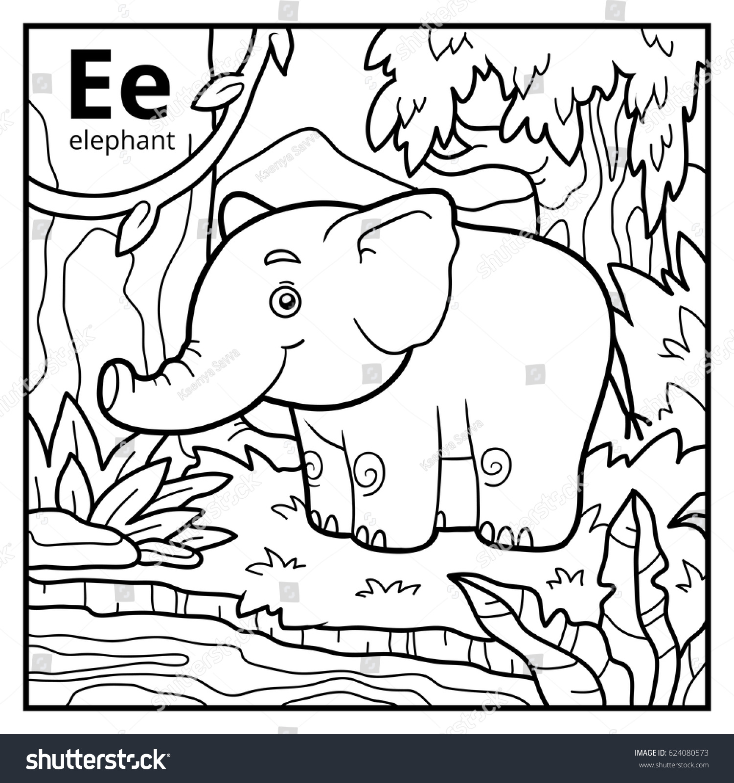 Coloring Book Elephant Eliolera