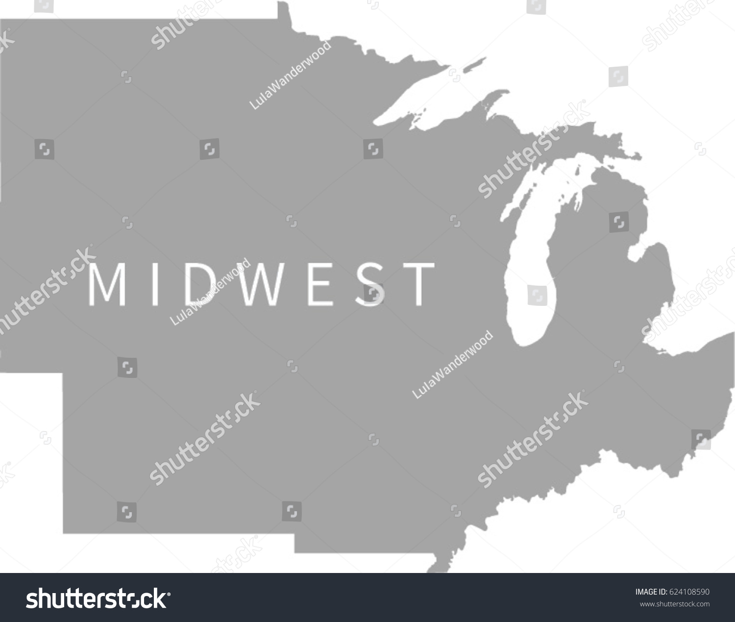 Midwest Region Us Map Stock Vector Shutterstock - Us map midwest region