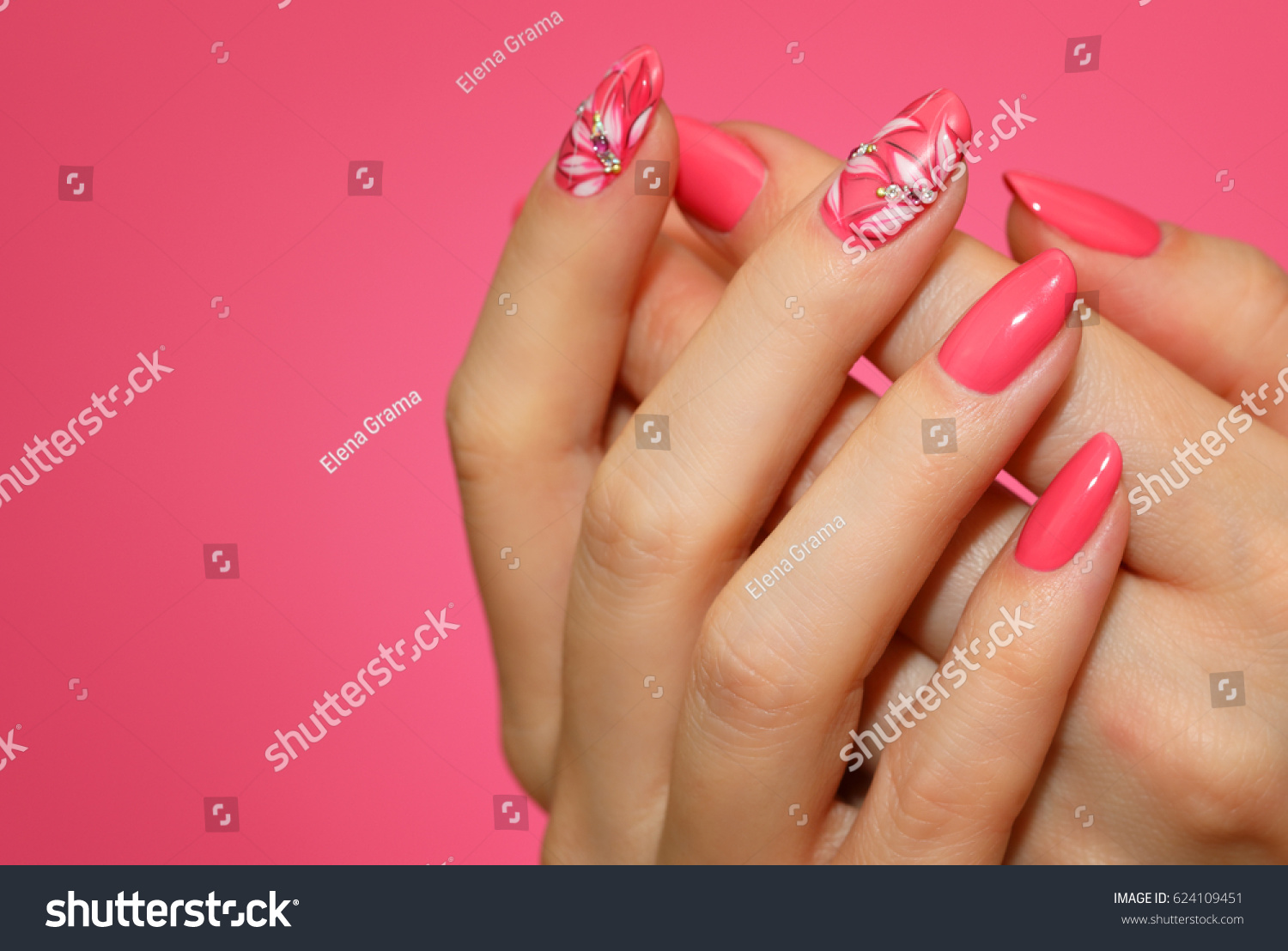 Manicured Womans Nails Pink Nailart Flowers Stock Photo (Download ...