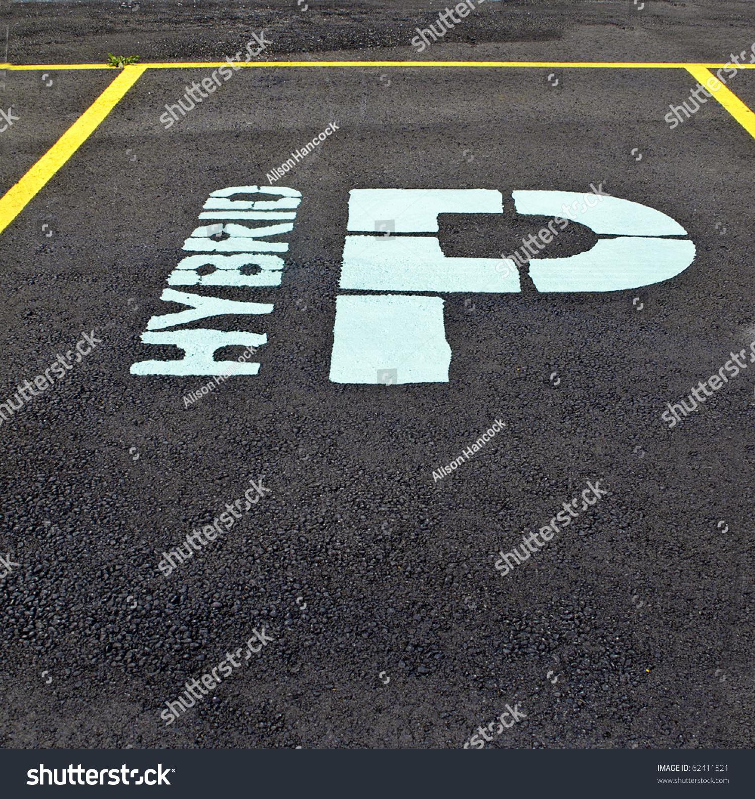 Designated Parking Spot For Hybrid Car Stock Photo