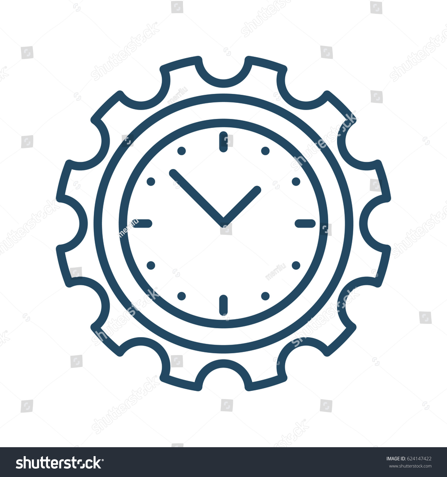 Clock inside gear vector icon meaning stock vector 624147422 clock inside gear vector icon in meaning time development amipublicfo Gallery