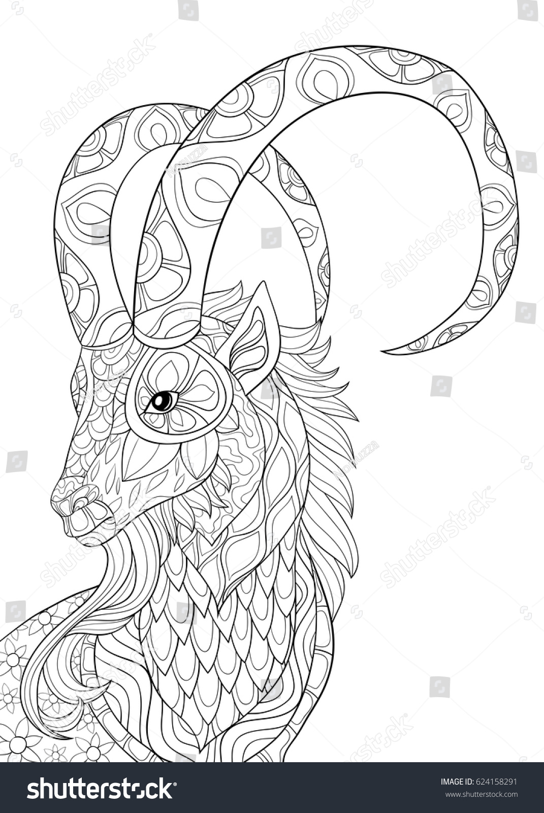 Adult Coloring Pages Goat Head