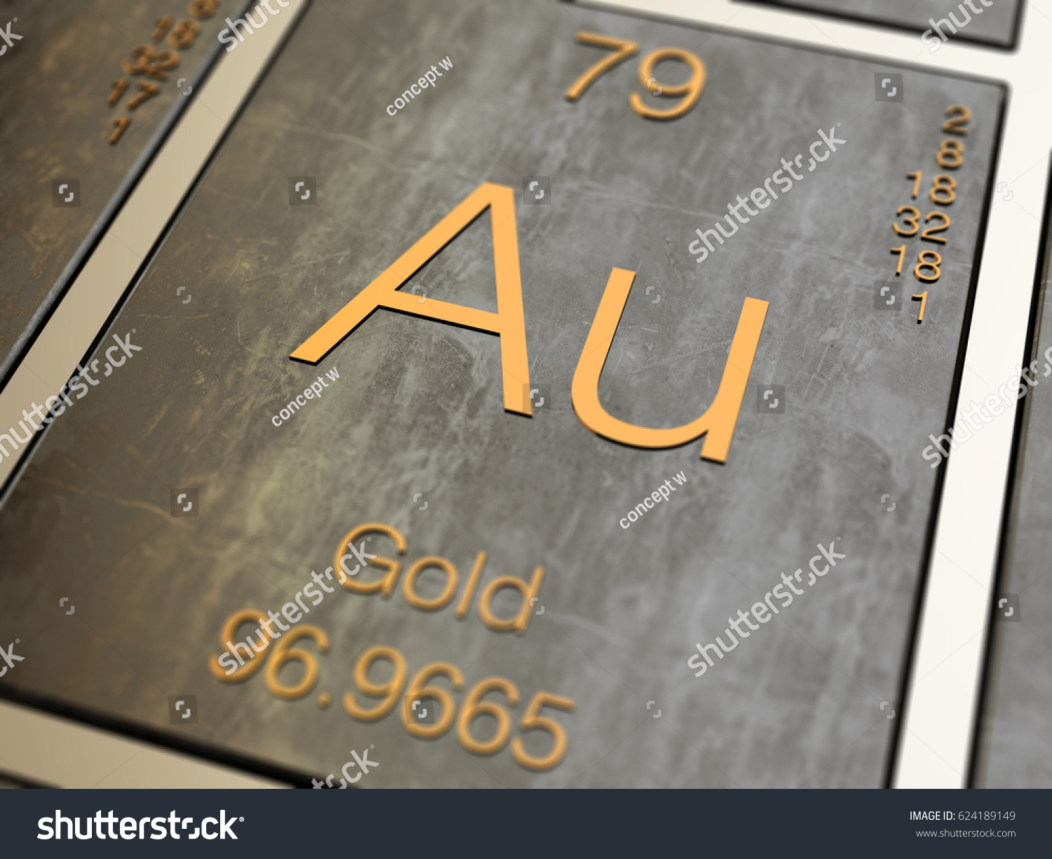 Gold element symbol periodic table 3d stock illustration 624189149 gold element symbol from periodic table 3d rendered with depth of field urtaz Choice Image