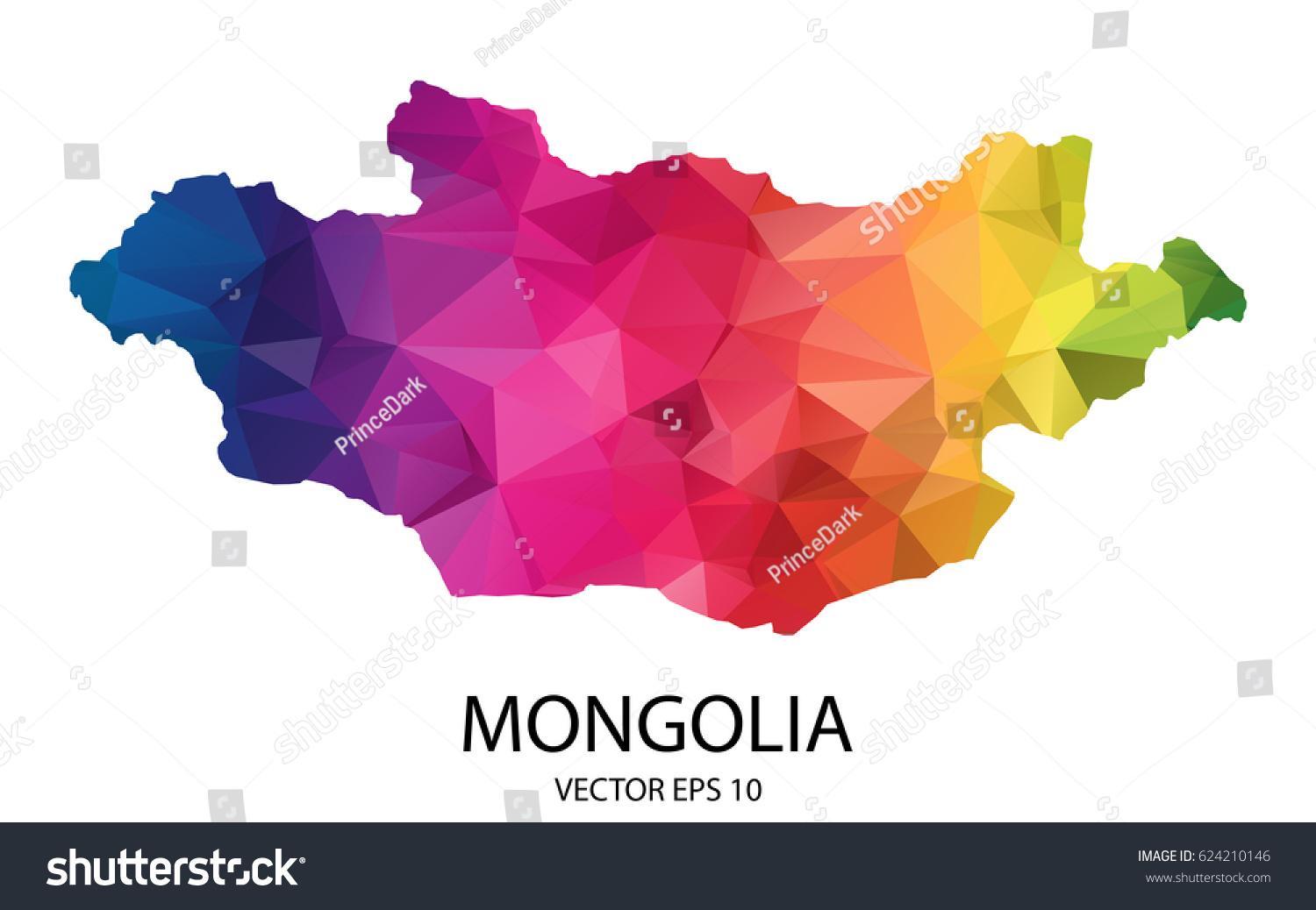 Abstract Polygon Map Vector Illustration Low Stock Vector - Mongolia map vector