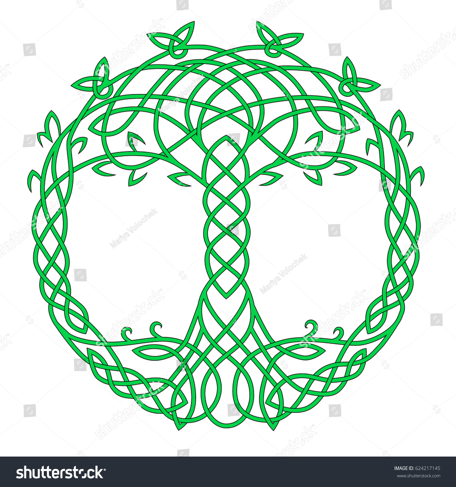 Celtic Round Color Drawing Symbol Tree Stock Vector Hd Royalty Free