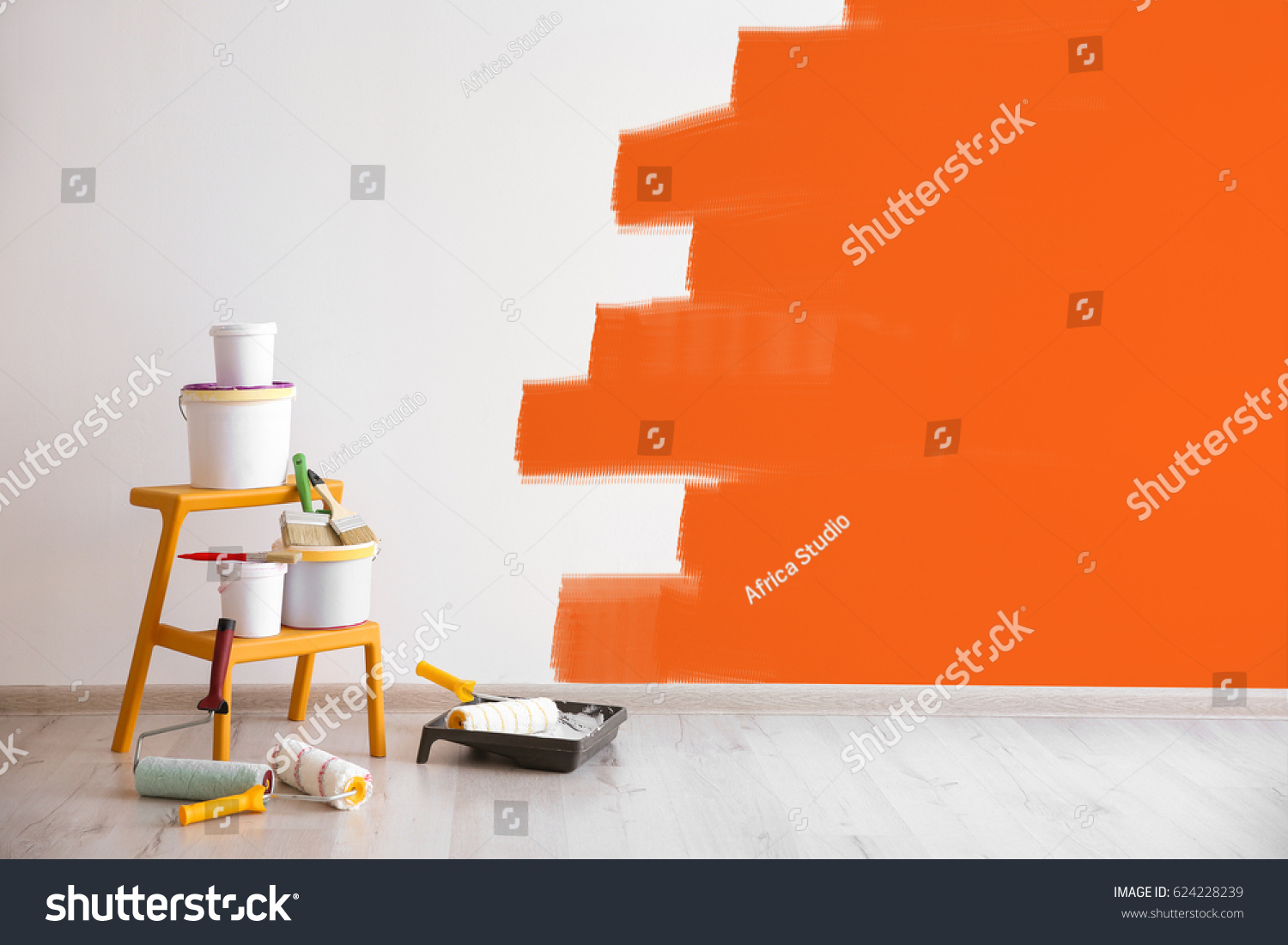 Set of tools for painting wall at home #624228239