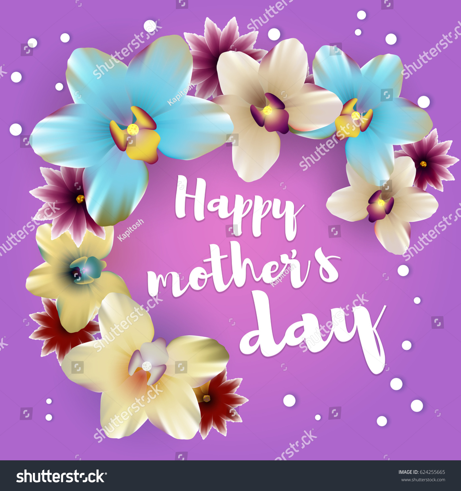 Greetings Happy Mothers Day Spring Banner Stock Vector 624255665