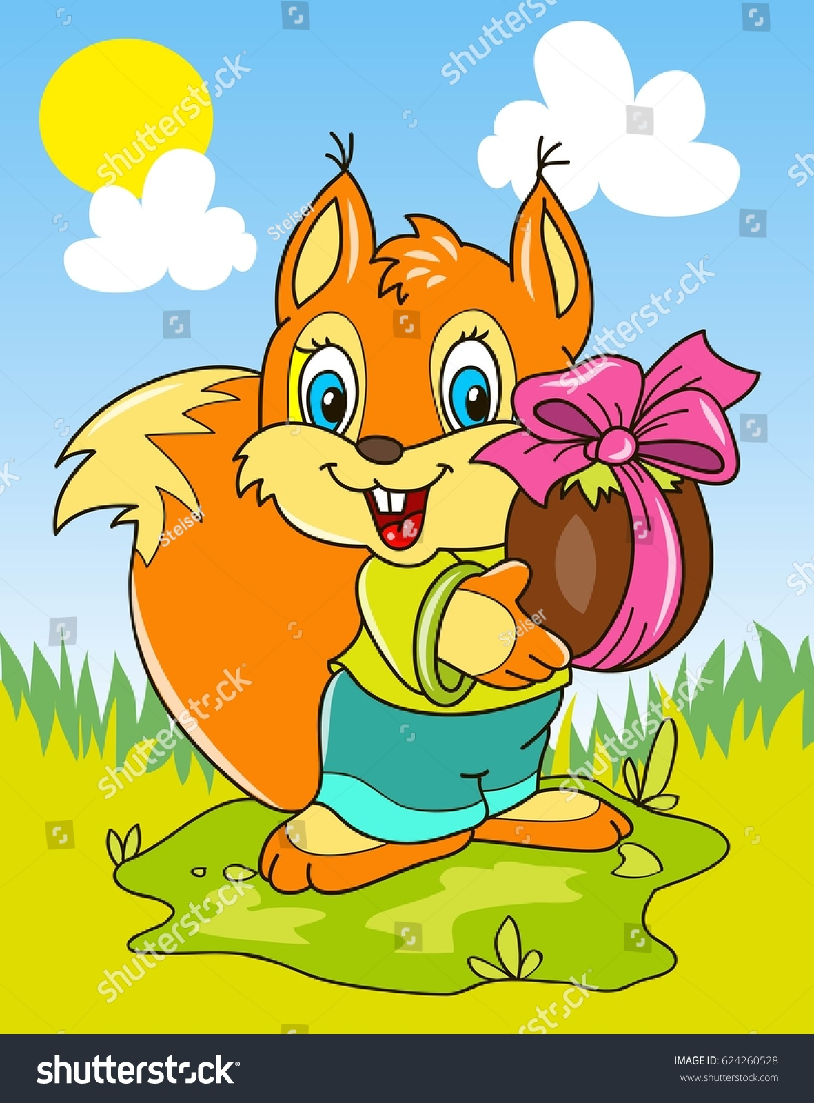 Coloring Page Outline Cartoon Little Squirrel Stock Vector ...