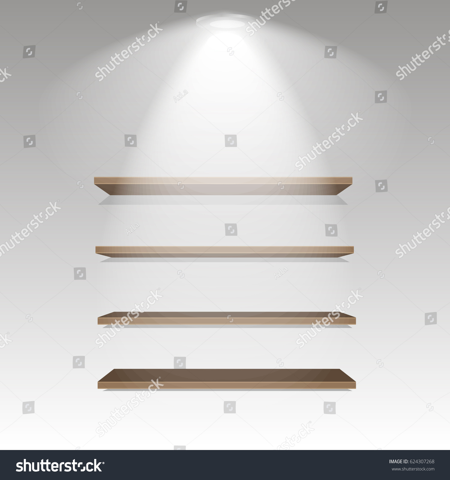 Wooden shelves on grey wall illuminated stock vector 624307268 wooden shelves on grey wall with illuminated lamp with soft light vector illustration amipublicfo Image collections