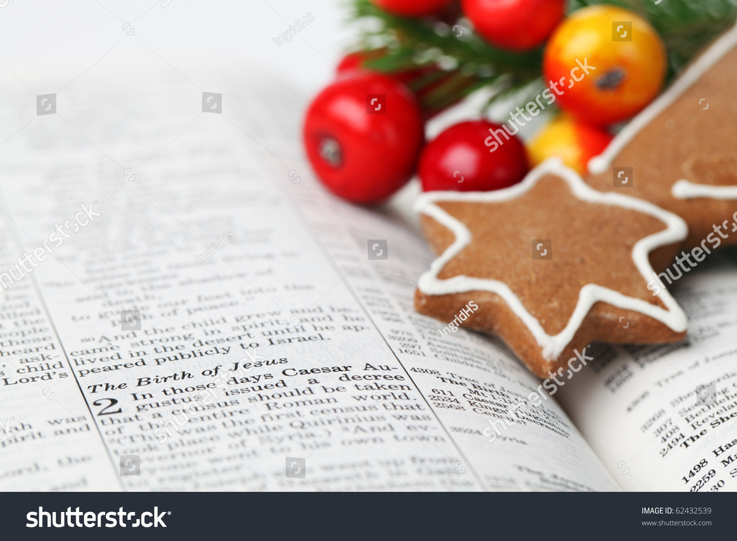 Christmas Story Open Bible Selective Focus Stock Photo (Edit Now ...