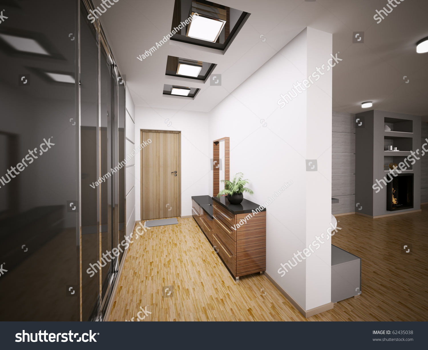 Interior modern entrance hall apartment 3d stock for Modern entrance hall