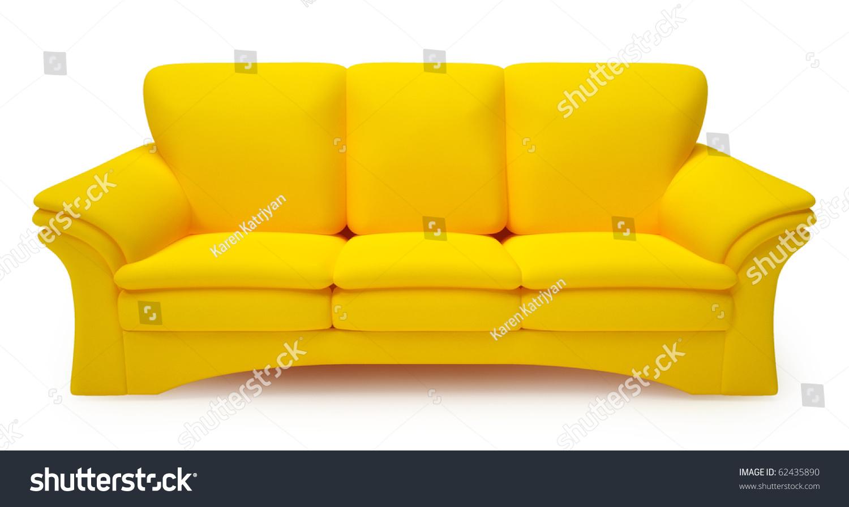 Yellow Sofa Isolated On White Background Stock