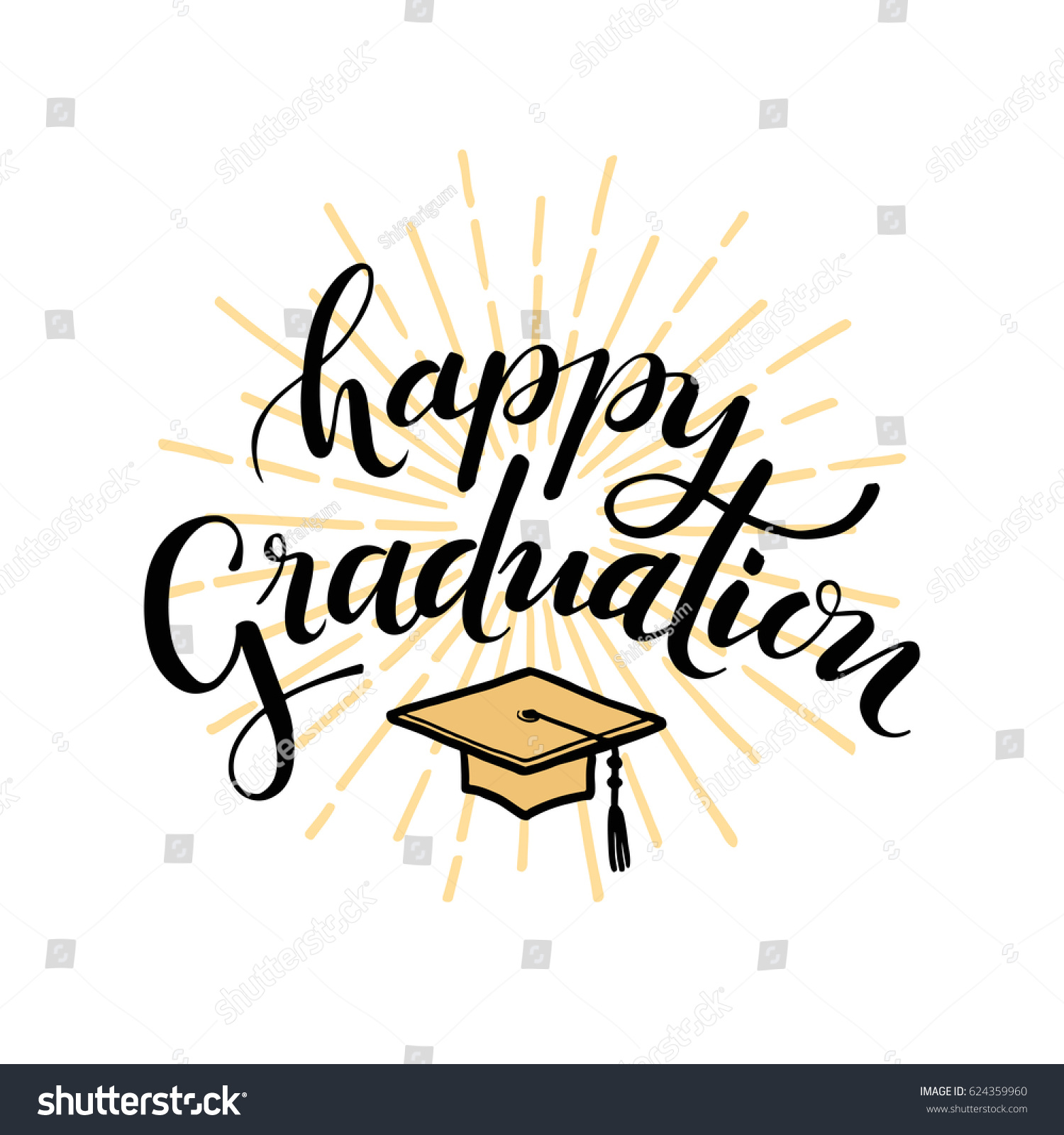 Happy Graduation Hand Drawn Lettering Greeting Stock Vector Royalty