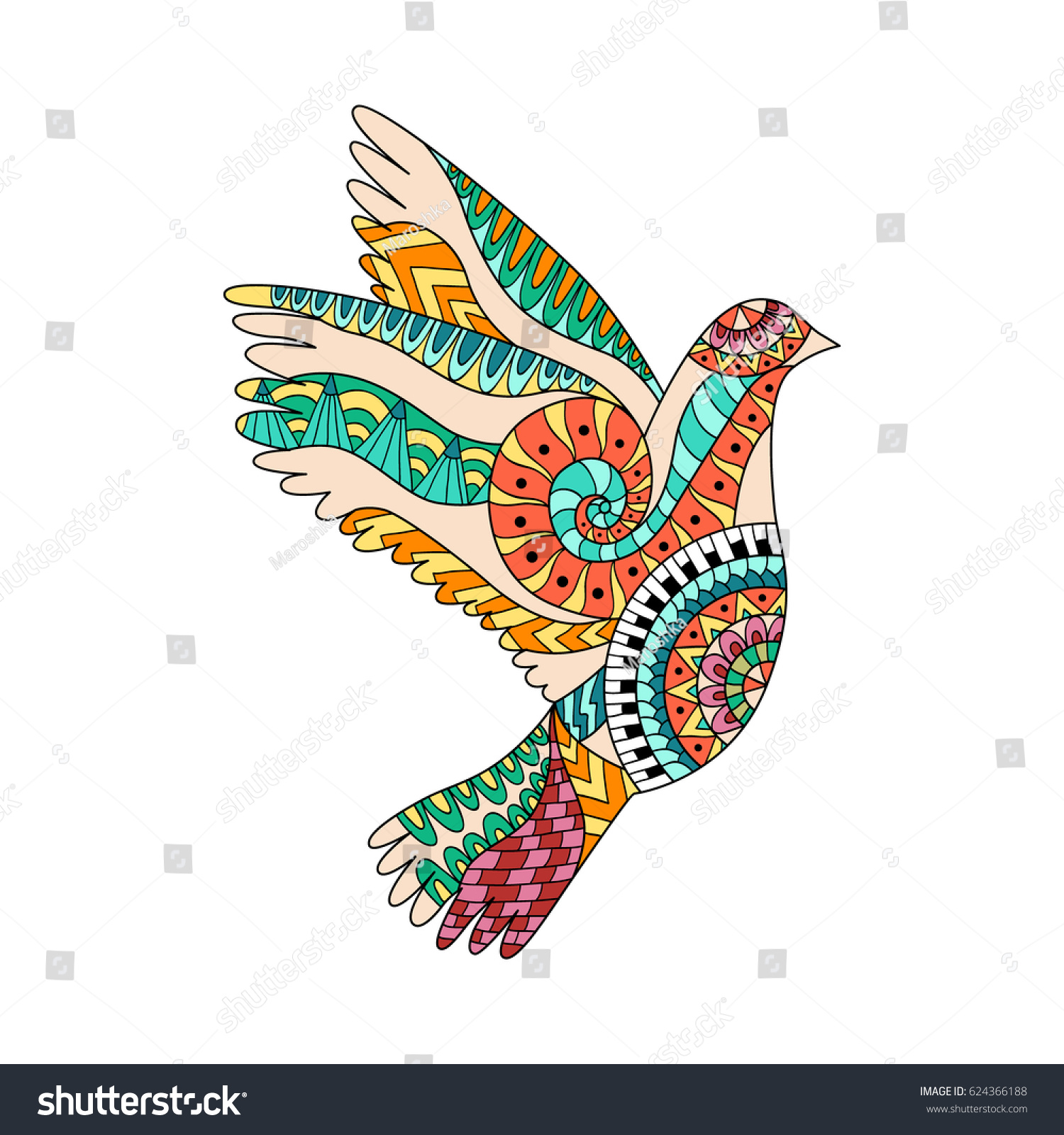 Hand Drawn Colorful Flying Dove Zentangle Stock Vector