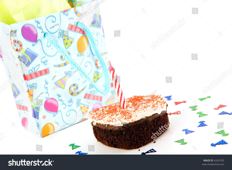 Gift Bag Tiny Birthday Cake Single Stock Photo Download Now