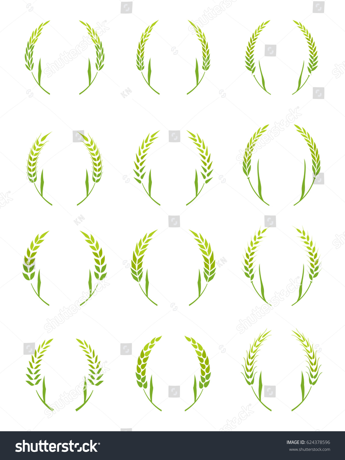 Of Wreaths Set Wreaths Vector Circular Decorative Elements Stock Vector